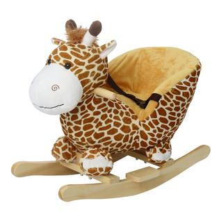 Kinbor Baby Kids Toy Plush Rocking Horse Little Giraffe Theme Style Riding Rocker with Sound, Seat belts PartNumber: SPM10464646508