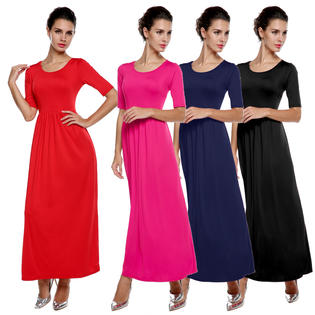Meaneor Women's Long Dress Fashion Casual Medium Sleeve Solid Party Maxi Long Full Dress PartNumber: 00000000000010168247000000000000AM001170P