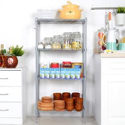 Bestone Kitchen 4 Tier Heavy Duty Wire Shelves Organizer Shelving Rack Unit Shelf With Side Hooks