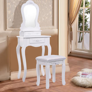 Gymax Vanity Jewelry Makeup Dressing Table Set W/Stool Drawer Mirror Wood  White