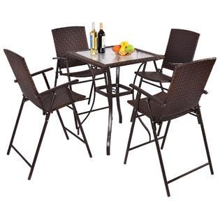 Gymax 5PC Rattan Patio Furniture Set Garden 4 Bar Stool Folding Chair + Bar  Table With