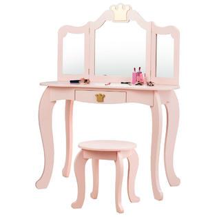 Generic Kids Makeup Dressing Table Chair Set Princess Vanity Tri Folding Mirror