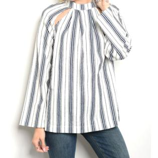 997c92ea1a94a1 Star-Studded Inc 40% Off! Long Sleeve Stripe Cut Out Top Blouse