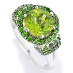 V3 Jewelry Sterling Silver 2.75ct Peridot Halo Ring