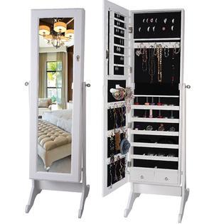 BTExpert Premium Cheval Mirror Jewelry Holder Armoire Cabinet Organizer  Storage Box Case Safe Keeper Lock Standing White