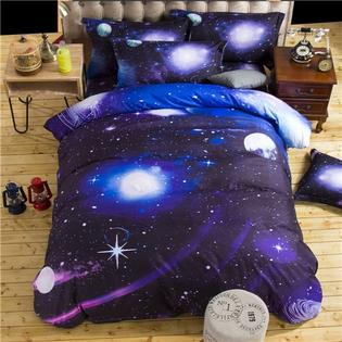 virtual store usa 3d galaxy bedding sets twin size universe outer space themed bedspread 3 piece bed linen bed sheets duvet cover set - Galaxy Bedding Set