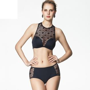 VIRTUAL STORE USA Summer Beach Sexy Brand Women Swimwear High Neck Bikini Hollow Out Mesh Bikinis Transparent High Waisted Swimsuit Lace Biquinis PartNumber: 0000000000000002129700000000000000riconaP