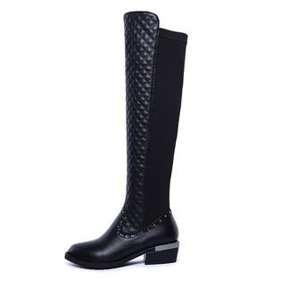 www.virtualstoreusa.com High quality genuine leather boots square heel rivets black fashion sexy women motorcycle knee high boots shoes PartNumber: 0000000000000002129700000000000000A30000P