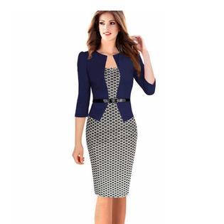 Fashion Women Retro Vintage Faux Two Piece Dress Elegant Lady Plaid Long Sleeve Pencil Dress Office Wear Outfits Plus Size PartNumber: 000000000000000212970000000000000000S122P
