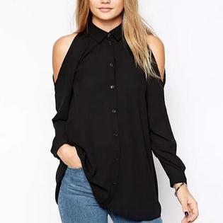 Women off shoulder long shirts sexy chiffon tops turn down collar blouse Blusas Femininas long sleeve casual plus size PartNumber: 00000000000000021297000000000000000LT426P