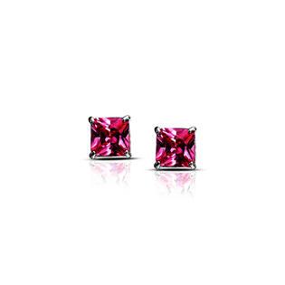 DiamondX.com Sterling Silver Princess Cut Pink Diamond Manmade VS1 Earrings Designed in France