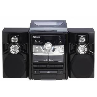 Encore Encore Shelf Stereo System with 3-Disc CD Player Turntable AM/FM Radio & Dual Cassette Player