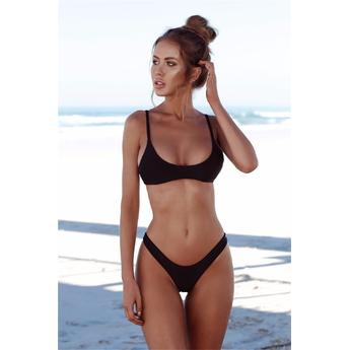 2e1db638e3 Cali Chic Junior's Swimsuit Celebrity Brazilian Padded Black High Legs  Bikini HOT! NEW!