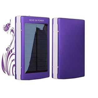 generic Universal 50000mAh Portable Dual USB External Solar Power Bank Backup Battery Charger - Purple