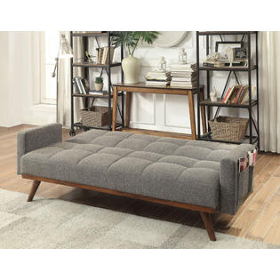 Foa Nettie Grey Linen Like Fabric Folding Futon Sofa Bed With Wood Accents