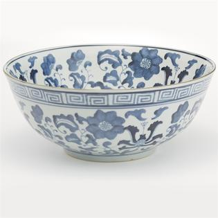 Tozai Home Blue And White Set Of 2 Lotus Flower Lianzu Decorative Bowls