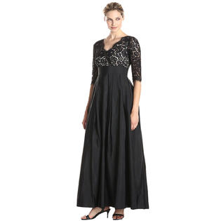 20df9b48976 Unomatch Women Plus Size Lace Stitching Long Party Maxi Dress Black