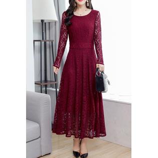 b22534875cb Unomatch Women Long Sleeve Slim Fit A-Line Dress