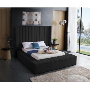HS King Size Bed Black Velvet Storage Rails and Footboard ...