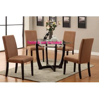 Poundex Hardwood Microfiber Dining Chairs 4pc set in saddle color Furniture Chair
