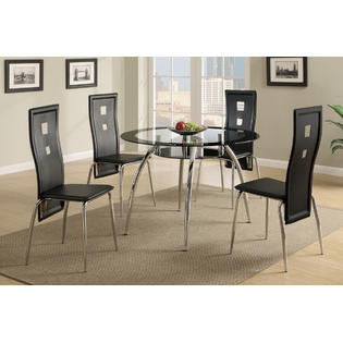 Poundex Modern Black Dining room Set of Round Glass table & High Back Stylish Chairs Chair Dining room Furniture PartNumber: SPM7724986628