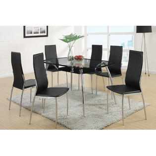 Poundex Stylish Modern Dining 7pc set of Glass top table & High back Side Chairs in Black Color Chair Dining room Furniture PartNumber: SPM7774323022