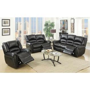 Esofastore Black Bonded Leather Reclining Motion Sofa Set Sofa Loveseat Glider Recliner New