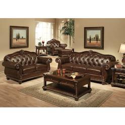Esofa Anondale Traditional Formal 2pc Sofa Set Living Room Furniture Rolled Armrest Tufted Back