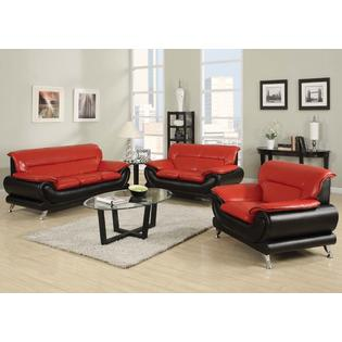 Esofastore Premium Bonded Leather Black / Red Modern Decor 3pc Sofa Set Sofa  Loveseat U0026 Chair