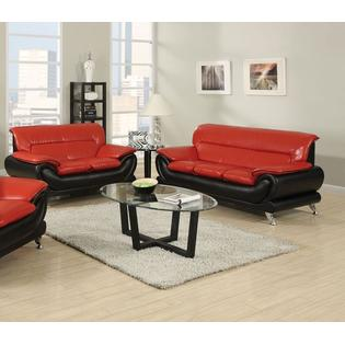 Esofastore Premium Bonded Leather Stunning Visual Black / Red Color Modern  Decor 2pc Sofa Set Sofa