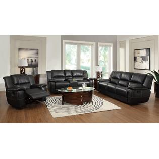 Esofastore Lee Transitional Motion Sofa Loveseat Recliner W/ Pillow Arms Black Living Room