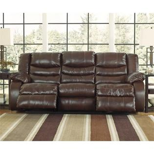 Ashley Linebacker DuraBlend Reclining Sofa Power Espresso Leather Reclining  Couch Living Room Furniture