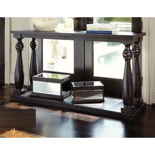 Ashley Mallacar Sofa Table Black Storage Shelf Living Room Console ...