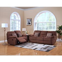 Esofa 2pc Sofa Set Modern Home Living Room Furniture Reclining And Loveseat Chenille Fabric Plush