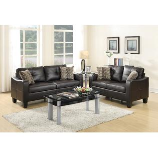 Esofastore Sofa And Loveseat Espresso Bonded Leather 2pc Sofa Set Living  Room Furniture Pillows Couch Modern