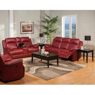 Esofastore Casual Luscious Red Leather Fusion Dual Recliner Sofa U0026 Console  Loveseat 2pc Set Living Room