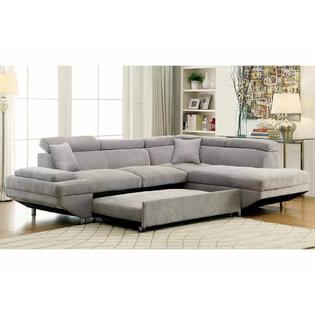 Furniture Of America Sectional Sofa W Pull Out Bed Sleeper Gray Flannelette  Fabric Sofa Chaise Living Room Furniture Made In USA