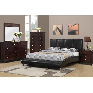 Esofastore Modern Faux Leather Curved Stylish Black Queen Size Bed Dresser Nightstand Mirror Metal Legs PartNumber: SPM9464562522