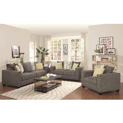 Coaster Clic Contemporary 2pc Sofa Set Love Seat Charcoal Grey Nailhead Trim Couch Comfort