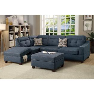 esofastore modern sleek reversible chaise w storage tufted sofa ottoman 3pcs sectional in dark blue dorris