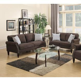 Esofastore Sofa And Loveseat Silky Velveteen Dark Brown Couch 2pc