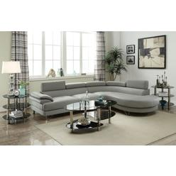 Esofastore Living Room Furniture Comfort And Style 2pc Sectional Sofa Chaise Light Grey Faux Leather Wide