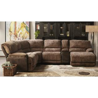 Esofastore New Large Reclining Sectional Sofa Modern Two Tone Brown Power Sectionals  Sofa Console Wedge Chaise