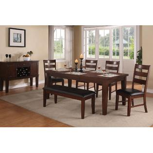 Esofastore Contemporary Casual Walnut Wood Dining Table W Leaf Side Chairs  U0026 Bench Dining Room Furniture