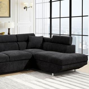 Furniture Of America Sectional Sofa W Pull Out Bed Sleeper Black  Flannelette Fabric Sofa Chaise Living Room Furniture Adj Headrest Chrome  Legs
