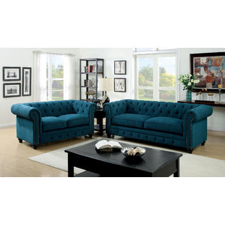 Furniture Of America Clic 2 Pcs Sofa Loveseat Dark Teal Color Fabric Tufted Traditional Formal Living Room