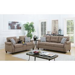 Esofa Living Room 2pcs Sofa Set And Loveseat W Usb Console Light Coffee Linen Fabric