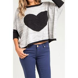 Let's Journey into Fashion LJIF Grey Gray Heart U Sweater Women Loose Pullover Knitted at Sears.com
