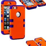 myLife iPhone 5/5S Purple + Orange Case with External 2 Piece Hard Rubberized Plates + Internal Soft Silicone Easy Grip Bumper at Sears.com