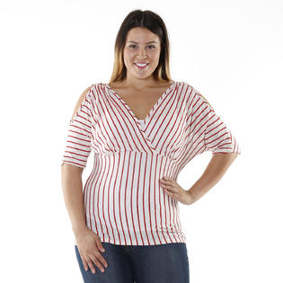 Hadari Collections Women's Plus Size Striped Slit-sleeve Top at Sears.com